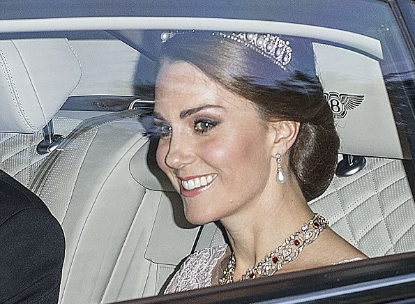 King Felipe and Queen Letizia, Prince William, Duchess Catherine of Cambridge, Prince Harry, Duchess Camilla wore Marchesa gown, Carolina herrera red dress gold diamond tiara