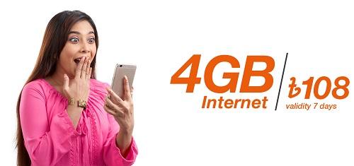 Banglalink 4 GB 108 Taka for 7 Days Internet Offer Pack Code 2020