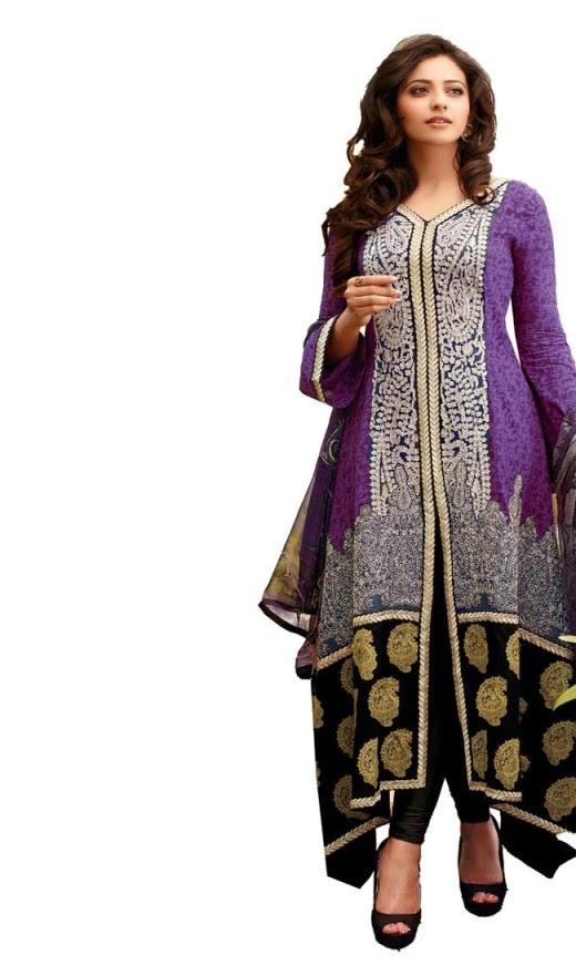 Rakul Preet Photos In Black Violet Salwar Kameez
