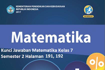 Kunci Jawaban Matematika Kelas 7 Semester 2 Halaman 191, 192