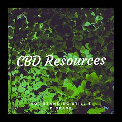 "thickly black outlined square photo of greenery with white text at middle ""CBD Resources"" and at bottom middle ""not standing still's disease"""