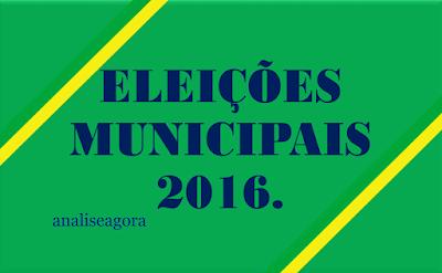 A imagem nas cores do Brasil diz: Eleições Municipais 2016.