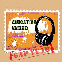 Educating Omand in green on an orange postage stamp on a brown envelope with a black postmark and a rubber stamp that says Gap Year