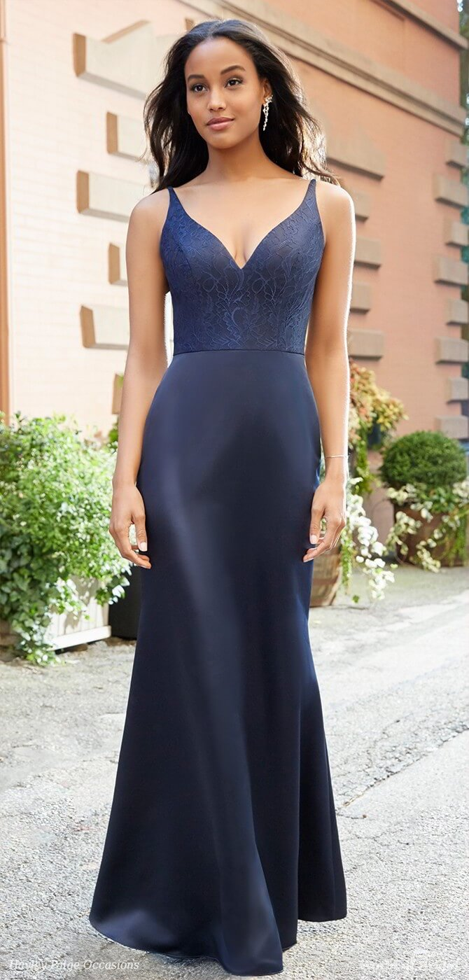 Hayley Paige Occasions Spring 2018 Indigo satin trumpet bridesmaids gown