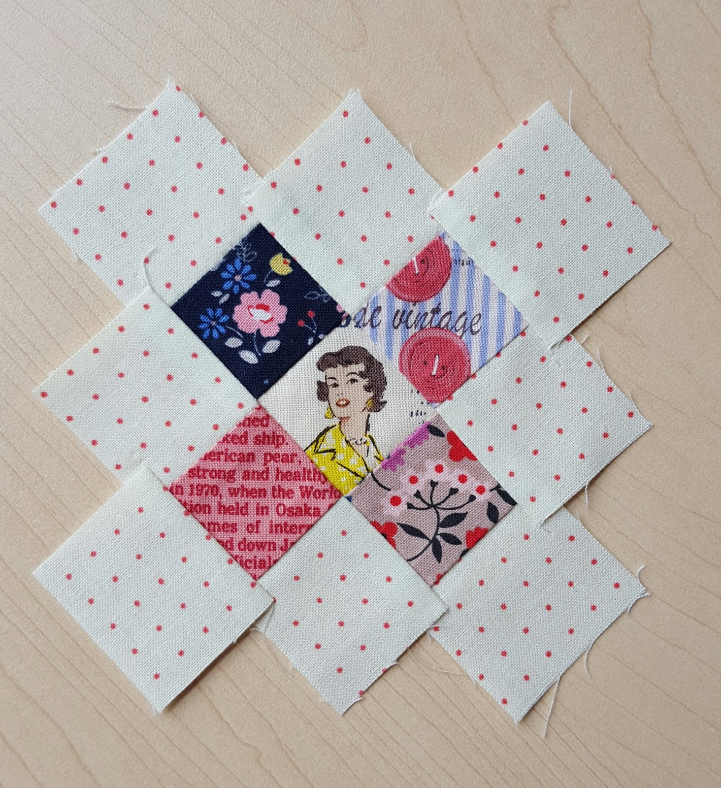 Sew the squares together in rows.