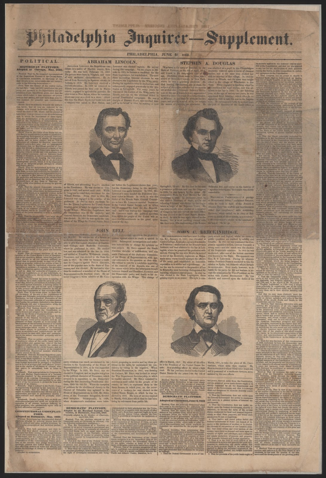 1860 election philadelphia inquirer supplement