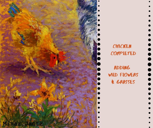 Complete the chicken & add wild flowers & grasses.