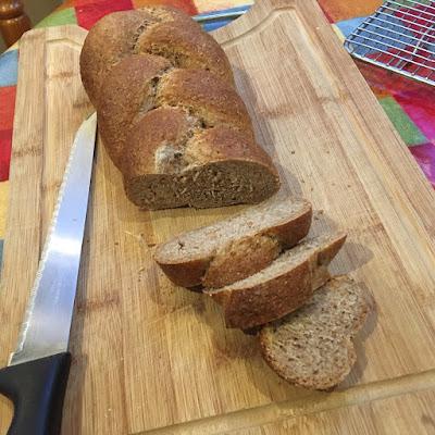 Plaited bread sliced