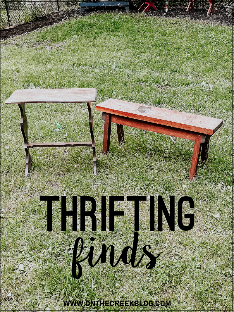 I picked up a table & bench when I went thrifting over the weekend!