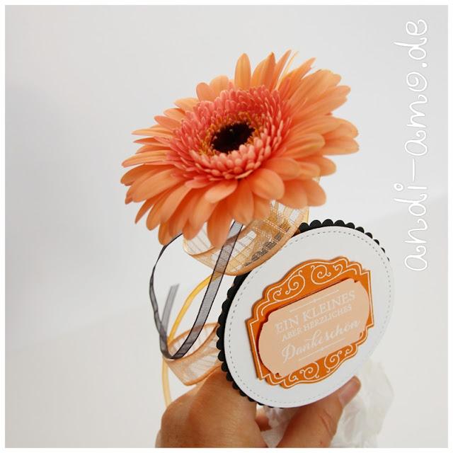 Blumengruß mit Anhänger selbstgemacht Stampin Up