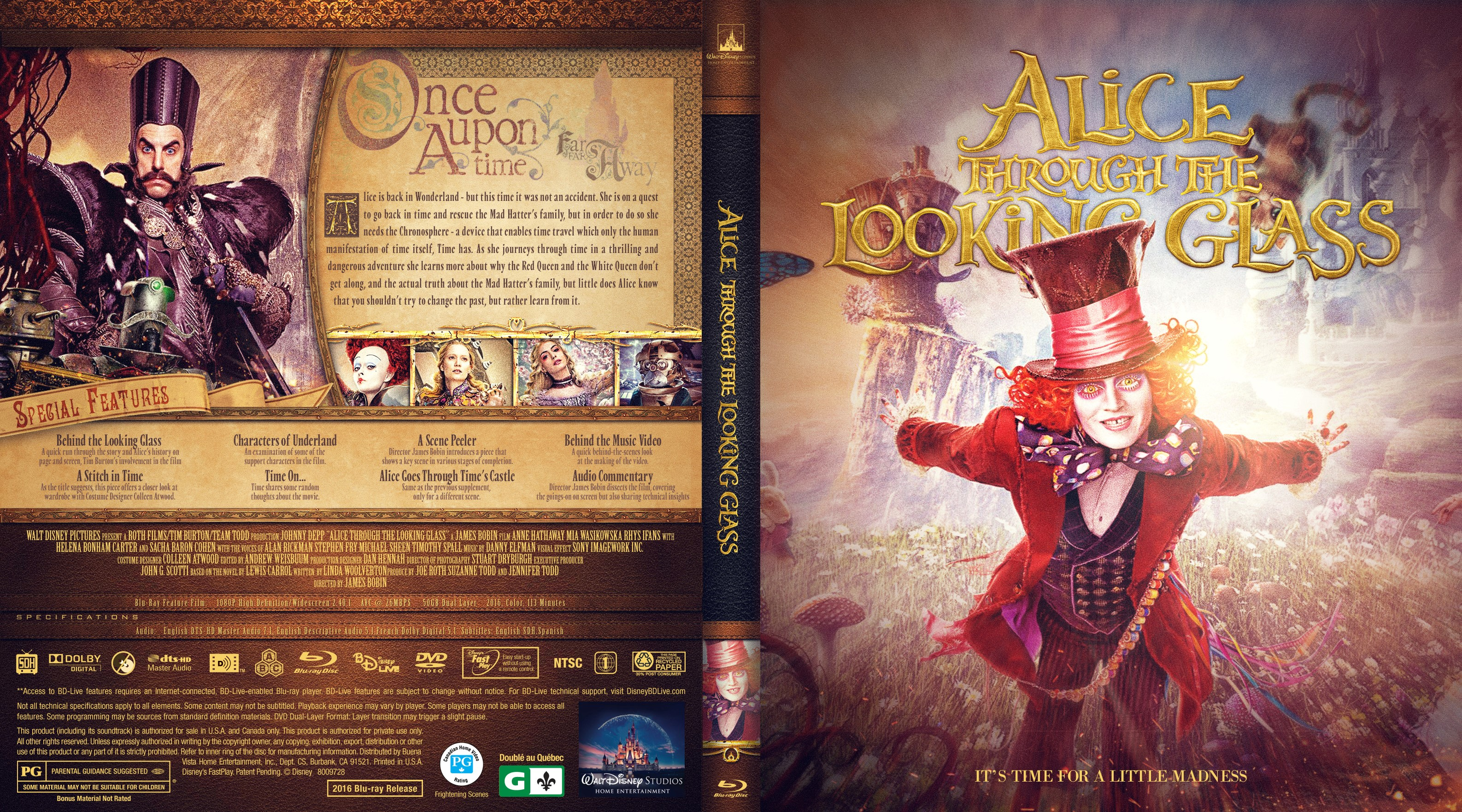 Alice Through The Looking Glass Bluray Cover  Cover -8316