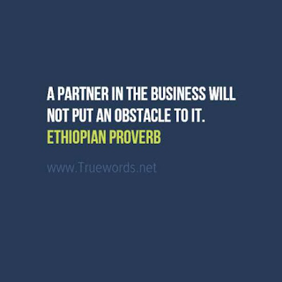 A partner in the business will not put an obstacle to it.