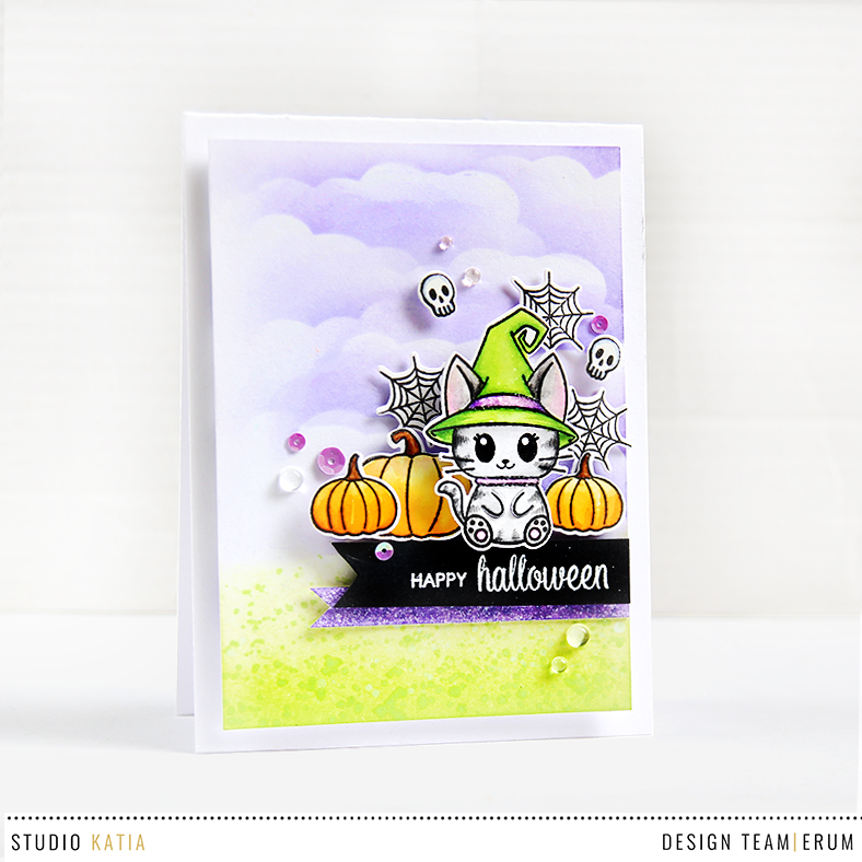 Studio Katia Meowy Halloween Stamp Set. Card by Erum Tasneem | @pr0digy0