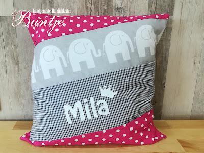 Kissen Name Mädchen Baby Elefant Karo Punkte grau pink Vichy