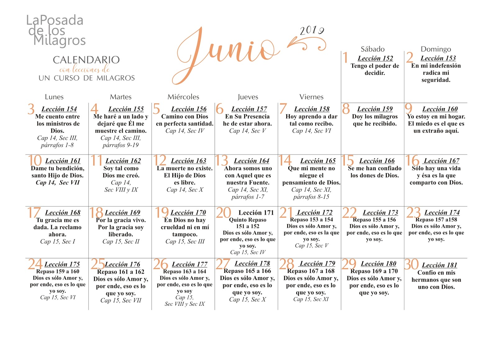 Junio 2019 Calendario.Un Curso De Milagros Calendario Junio 2019