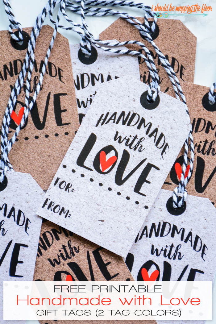 Free Printable Handmade With Love Tags | These free printable gift tags have the cardboard and chipboard textures built in to the designs! Instant downloads. Perfect for gifts.