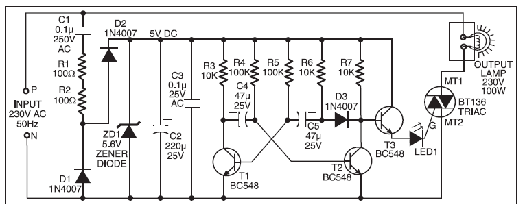 MAINS-OPERATED CHRISTMAS STAR CIRCUIT DIAGRAM BASIC