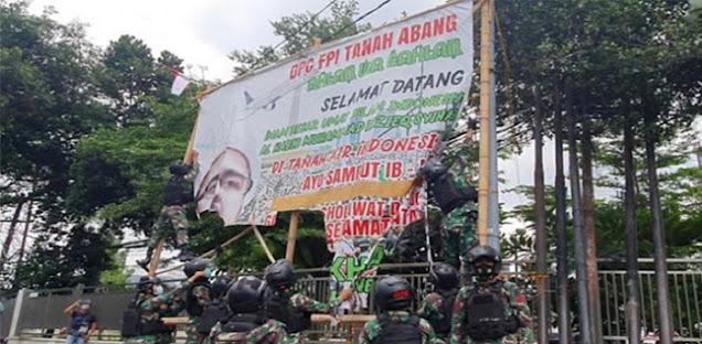 Baliho Ha6ib Ri2ieq Shihab Dicopot TNI, FP1: Sayang Pasukan Elit Digunakan Untuk Menakuti Rakyat