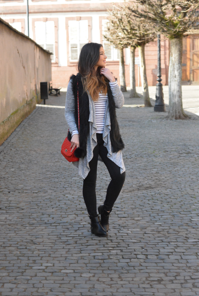 Primark, Striped Shirt, Faux Fur, Fur Vest, Cardigan, Pom Pom, Quilted Bag, Wissembourg, France