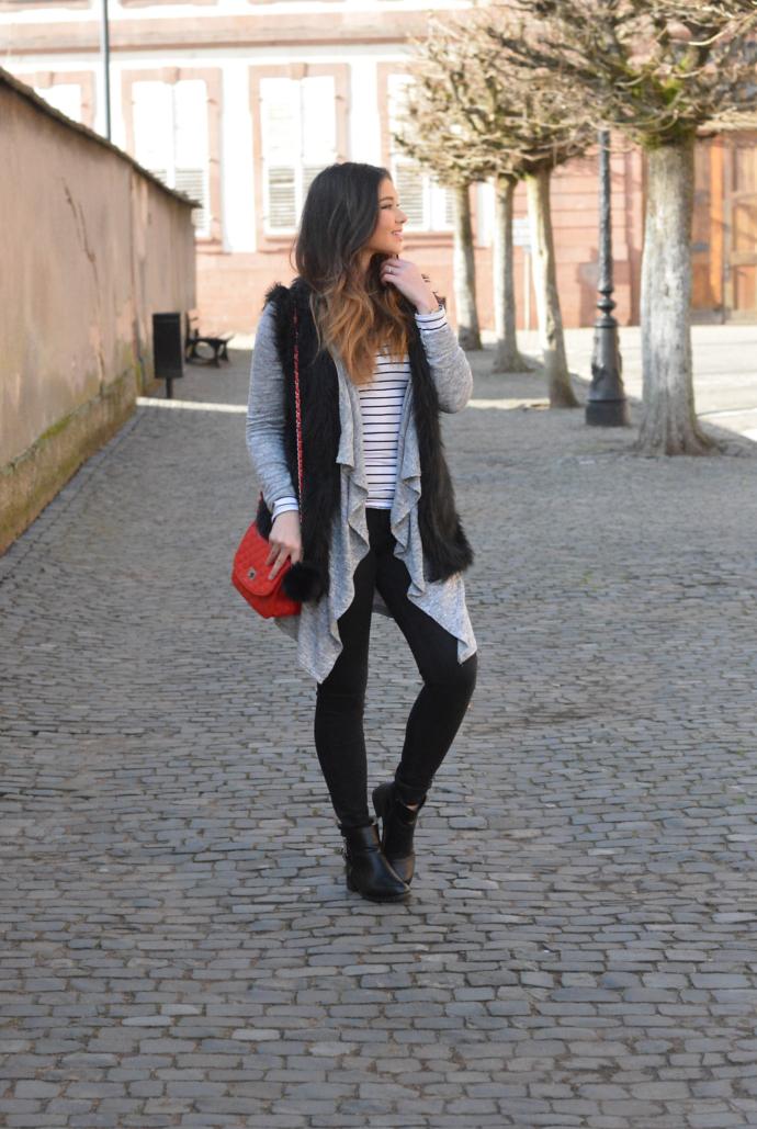 Primark, Striped Shirt, Faux Fur, Fur Vest, Cardigan, Pom Pom, Quilted Bag, Wissembourg, France