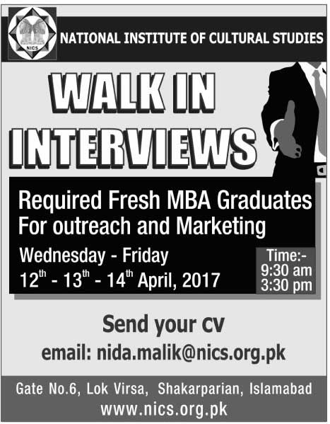 National Institute of Cultural Studies Jobs in Islamabad