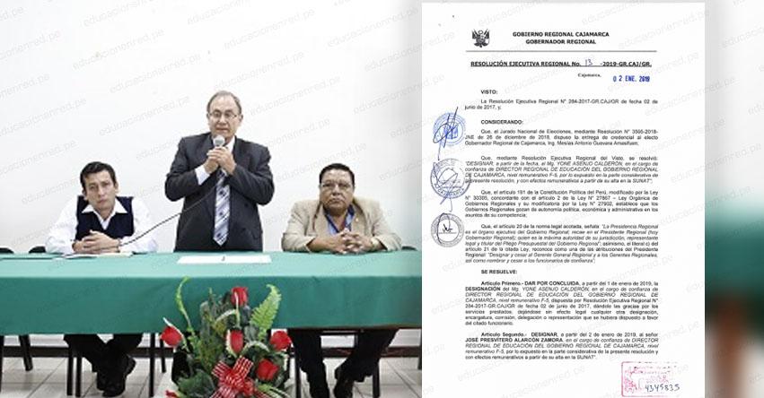 Designan a nuevo director en la DRE Cajamarca (José Presvítero Alarcón Zamora) www.educacioncajamarca.gob.pe
