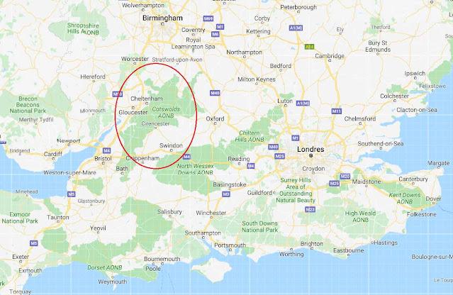 Localización de The Cotswolds en Inglaterra