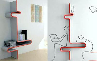 Rekaan Moden, Unik, Kreatif dan Menarik Perabot di Ruang Tamu, Bilik Dan Pejabat - hiasan juga rak