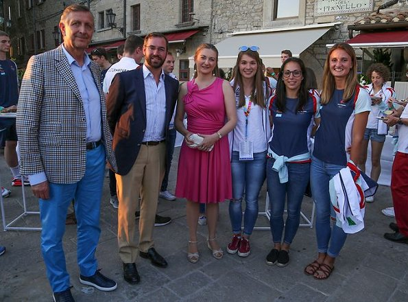 Hereditary Grand Duke Guillaume and Hereditary Grand Duchess Stéphanie attended a reception at the Piazza della Liberta in San Marino