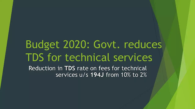 Budget 2020: Govt reduces TDS for technical services