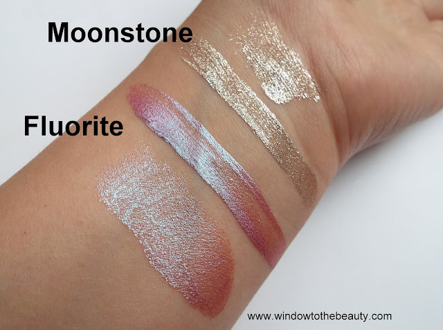 Beauty Bay New Liquid Crystal Eyeshadows fluorite and moonstone swatches
