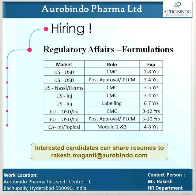 Aurobindo Pharma | Hiring for Regulatory affairs - Formulations | Send CV
