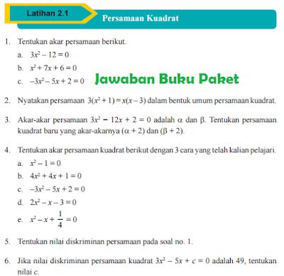 Kunci Jawaban Buku Paket MATEMATIKA Latihan 2.1 Persamaan Kuadrat Halaman 81 82 Kelas 9 Kurikulum 2013 www.jawabanbukupaket.com