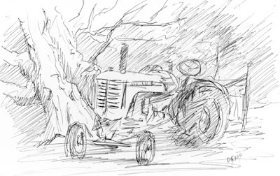art sketch pen ink wheeler farm tractor Moline