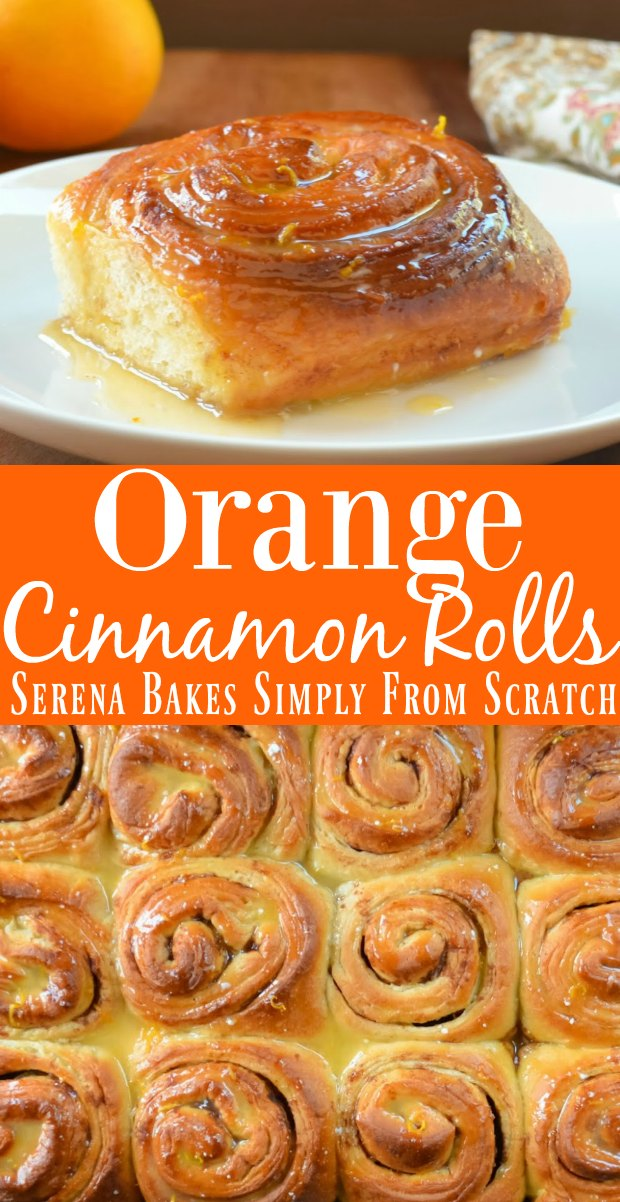 Orange Cinnamon Roll recipe are so delicious with a citrus glaze! Perfect for breakfast or brunch from Serena Bakes Simply From Scratch.