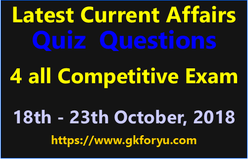 Current Affairs Quiz Questions