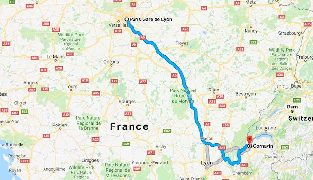 Mapa viagem de trem de Paris a Genebra