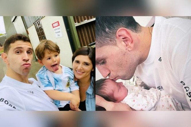 Emotivo: El Dibu Martínez se reencontró con su familia y conoció a su pequeña hija