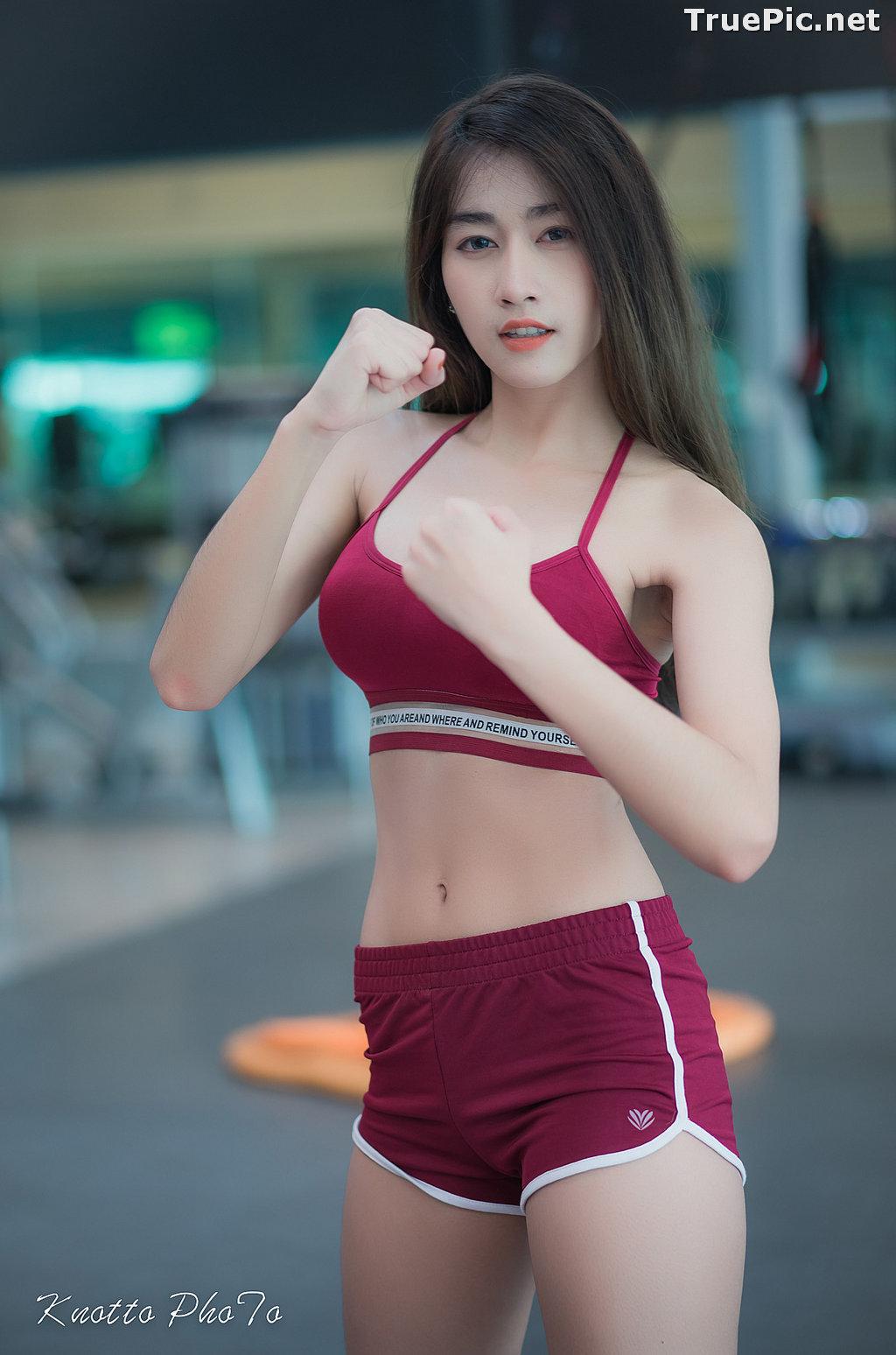 Image Thailand Hot Beauty Model - Nisa Khamarat - Red and Black Fitness Set - TruePic.net - Picture-1