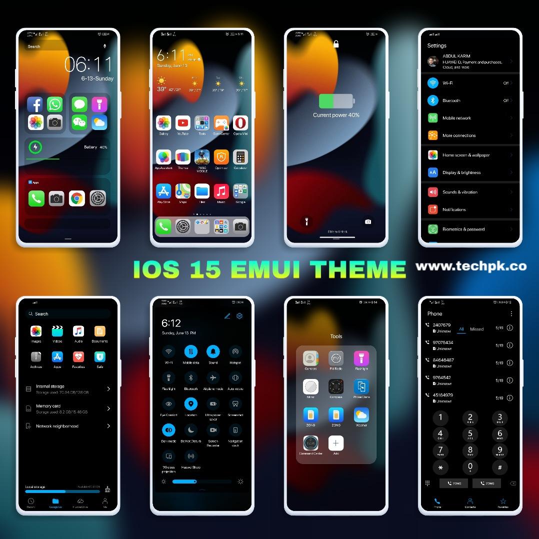 [Emui Theme] IOS 15 Dark Emui Theme For Emui 11 & Emui 10