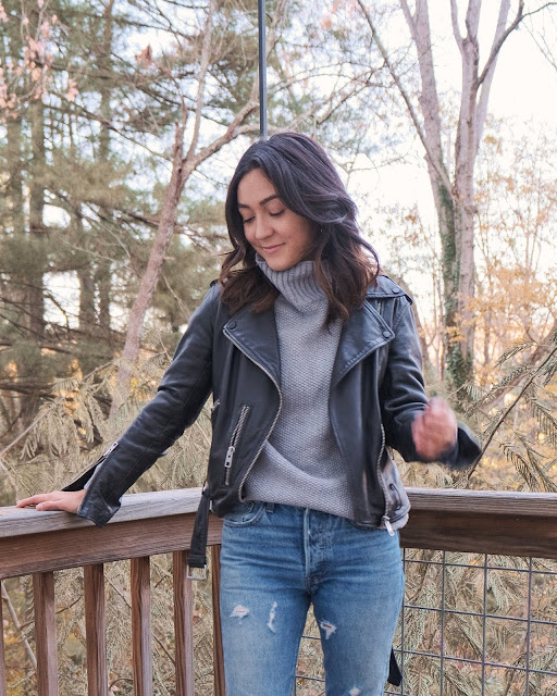 fall winter leather jacket outfit