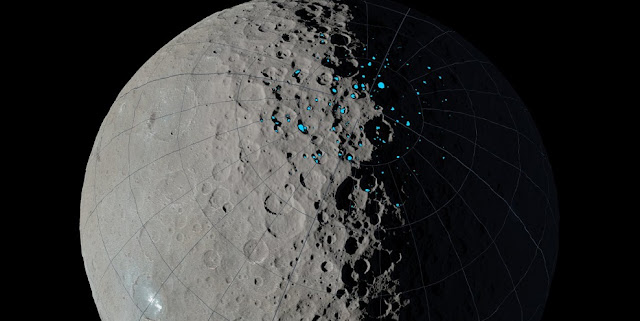 Permanently shadowed regions capable of accumulating surface ice were identified in the northern hemisphere of Ceres using images taken by NASA's Dawn mission combined with sophisticated computer modeling of illumination. Credits: NASA/JPL-Caltech