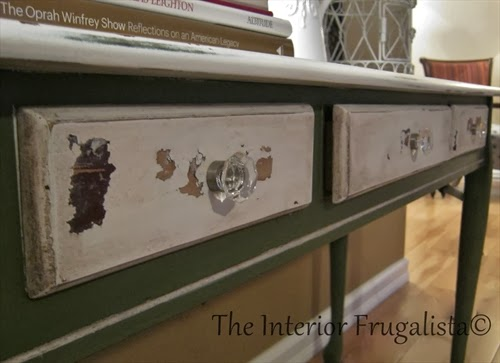 Sofa table with chippy drawer fronts in Ironstone white milk paint