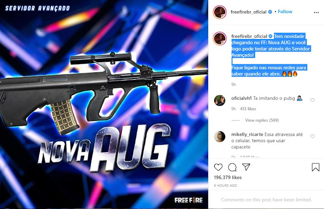 Senjata AUG Akan Rilis Di Free Fire Lihat Bocoran Update-nya