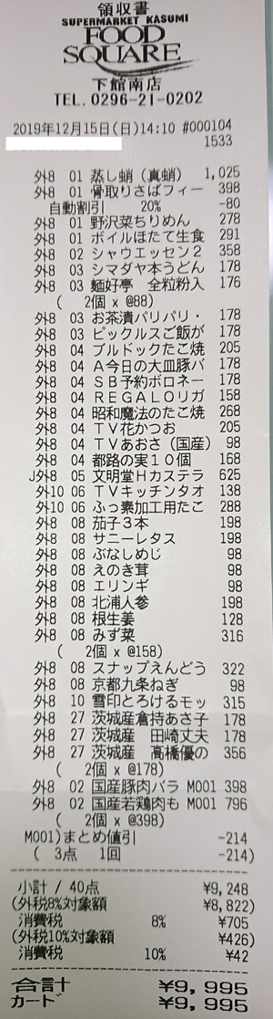 カスミ フードスクエア下館南店 2019/12/15 のレシート