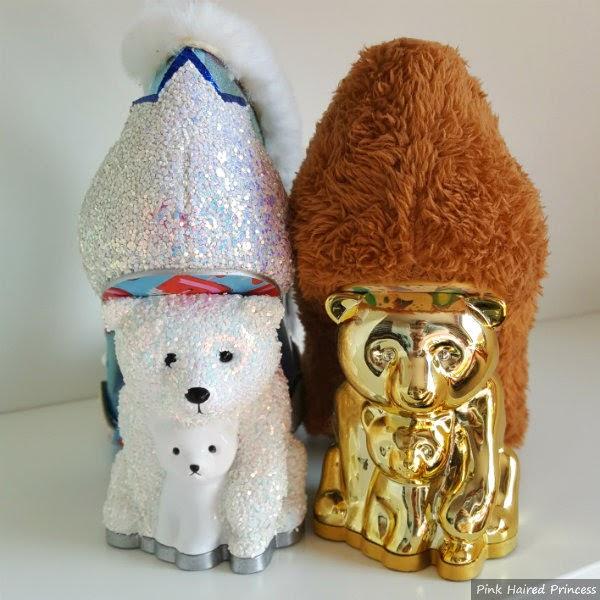 comparison on new polar bear heel with old gold bear heel