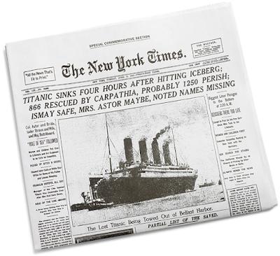 Portada del periódico The New York Times sobre el Titanic