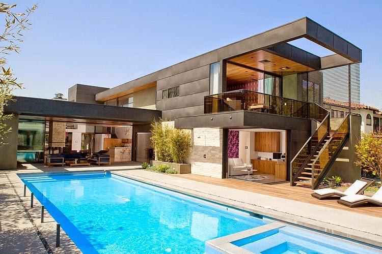 Hogares frescos moderna casa de dos pisos con piscina en for Casas con piscinas fotos