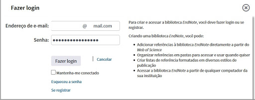 Login do EndNote dentro da base WoS
