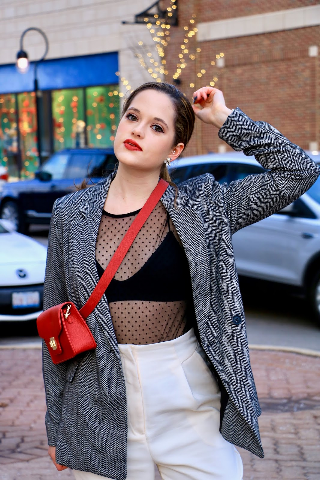Nyc fashion blogger Kathleen Harper showing how to wear a sheer top with a bralette.